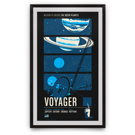 "Voyager // Historic Robotic Spacecraft Series // Giclée Print // Blue (12"" x 18"")"