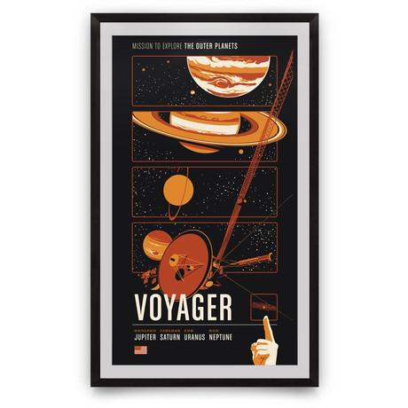 "Voyager // Historic Robotic Spacecraft Series // Giclée Print // Orange (12"" x 18"")"