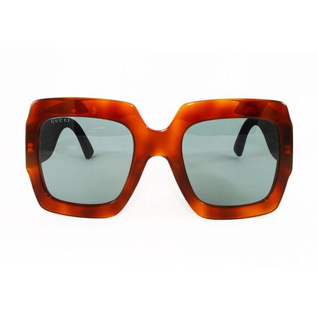 Gucci Women's Sunglasses // GG0102S // Havana Glitter Green