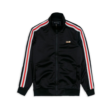 Fulton Track Jacket // Black + Red (XS)