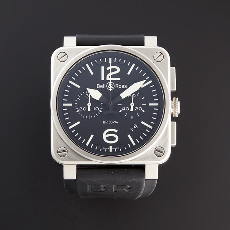 Bell & Ross BR03-94 Chronograph Automatic // BR0394-BL-SI/SCA // Pre-Owned