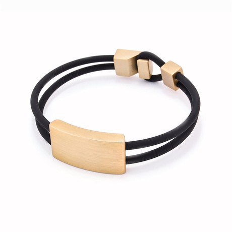 "Binomial Bracelet // Champagne Rectangle + Black (7"")"