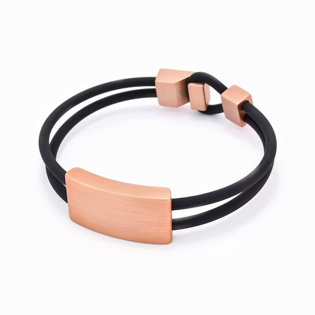 "Binomial Bracelet // Copper Rectangle + Black (7"")"