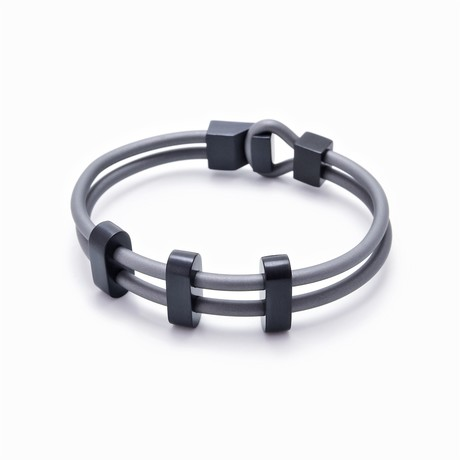 "Binomial Bracelet // 3-Black Oval + Gray (7"")"