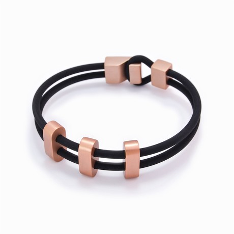 "Binomial Bracelet // 3-Copper Oval + Black (7"")"