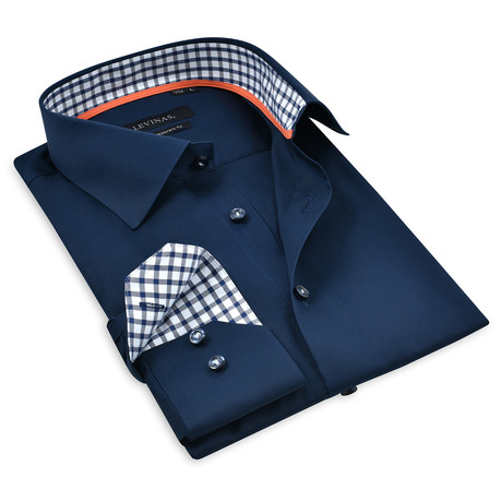 Button-Up Shirt I // Navy + Navy Check (S)