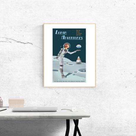 "Moon Travel Print (12""W x 18""H x 0.1""D)"