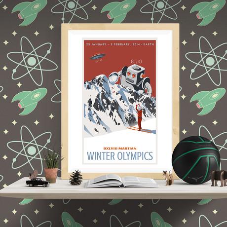 "Martian Winter Olympic Travel Print (12""W x 18""H x 0.1""D)"