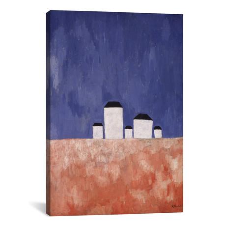 "Landscape with Five Houses // Kazimir Severinovich Malevich // c.1932 (26""W x 18""H x 0.75""D)"