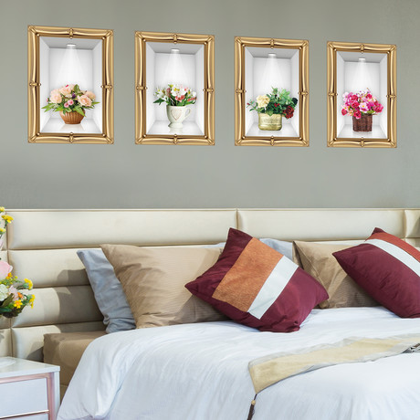 Golden Frame 3D Flowers