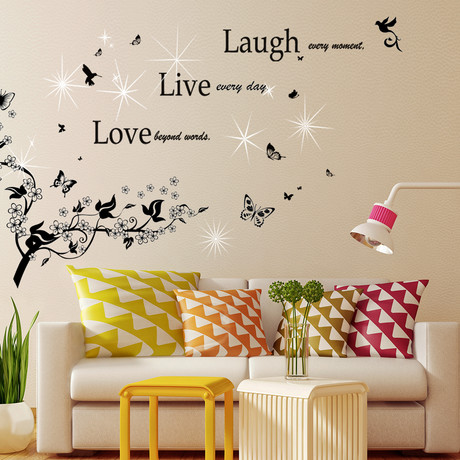 Classic Live Laugh and Swarovski // Wall Sticker
