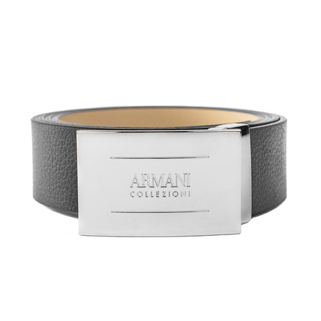 Armani // Grained Leather Belt // Black (Size: 32)