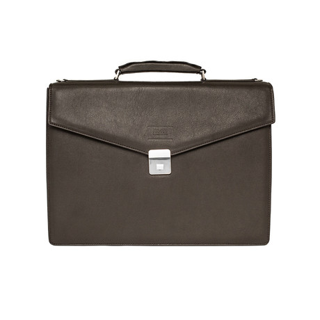 Quilted Leather Briefcase Bag with Shoulder Strap // Dark Brown