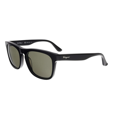 Ferragamo // Men's Square Sunglasses // Black + Brown