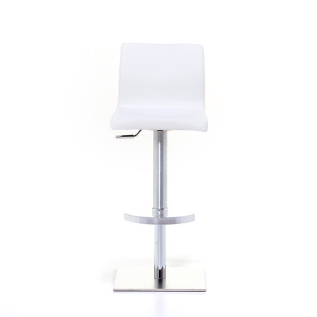 June SGT Brushed Steel Bar Stool // White