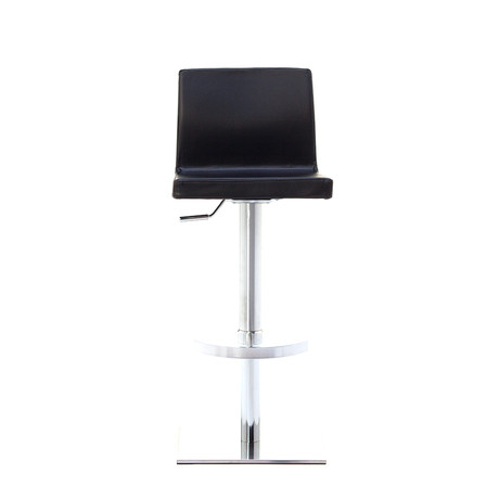 June SGT Brushed Steel Black Bar Stool