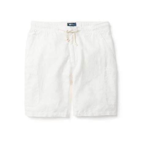 Linen Cotton Cargo Short // White (XS)
