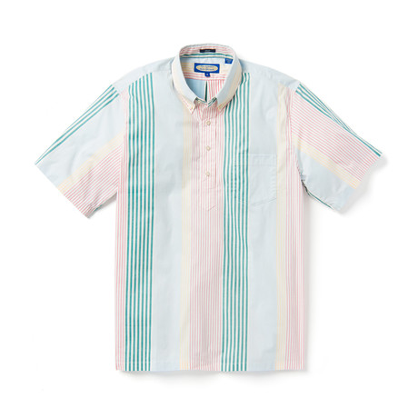 Variegated Mul Stripe Short Sleeve Button-Up // Multicolor (XS)
