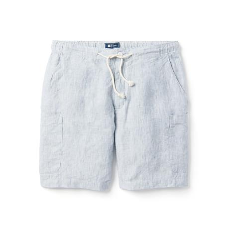 Linen Pinstripe Cargo Short // Navy, White (XS)