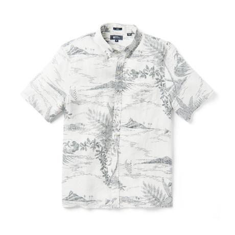 Indo-Scene Short Sleeve Button-Up // White Alyssum (XS)