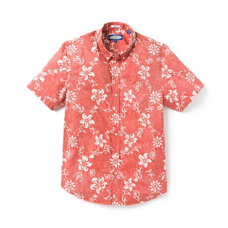Summer Pareau Short Sleeve Button-Up // Molten Lava (XS)