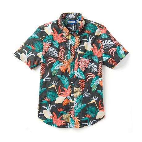 Bangkok Floral Tailored Short Sleeve Button-Up // Black Onyx (XS)