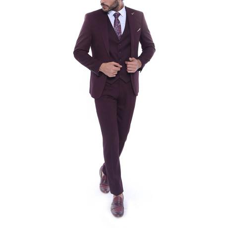 Quinton 3-Piece Slim Fit Suit // Burgundy (Euro: 44)