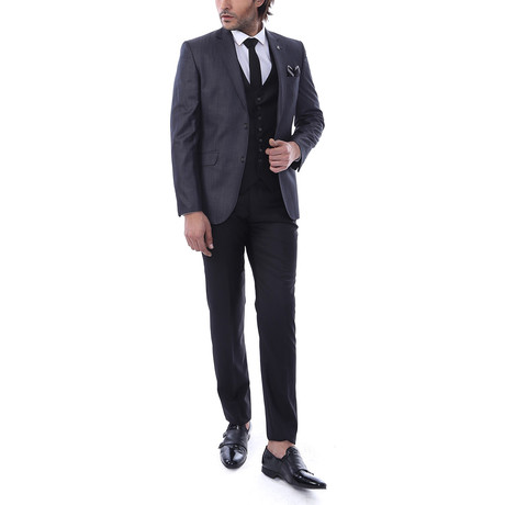 Ty 3-Piece Slim Fit Suit // Smoke (Euro: 44)
