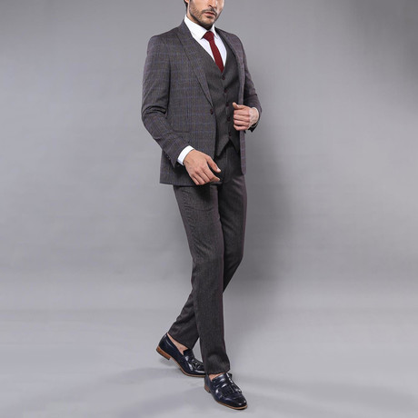 Louis 3-Piece Slim Fit Suit // Smoked (Euro: 42)