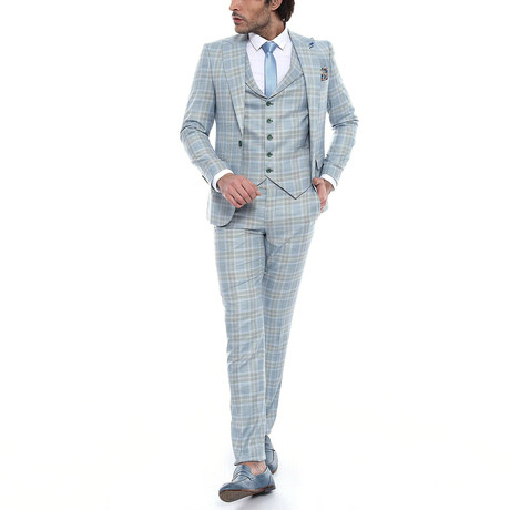 Bradyn 3-Piece Slim Fit Suit // Light Green (Euro: 42)