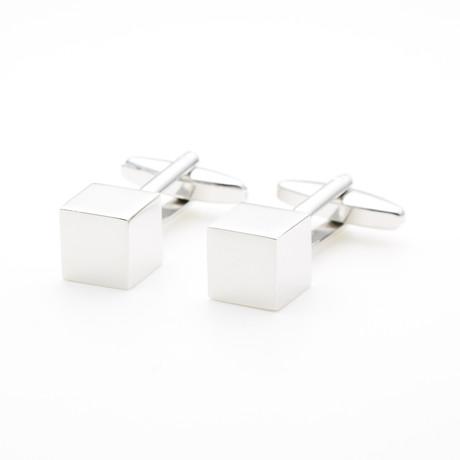 Polished Cube Design Cufflink