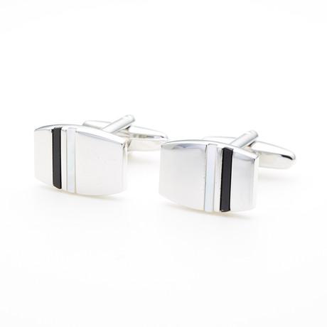 Strips Cufflink // Black + White