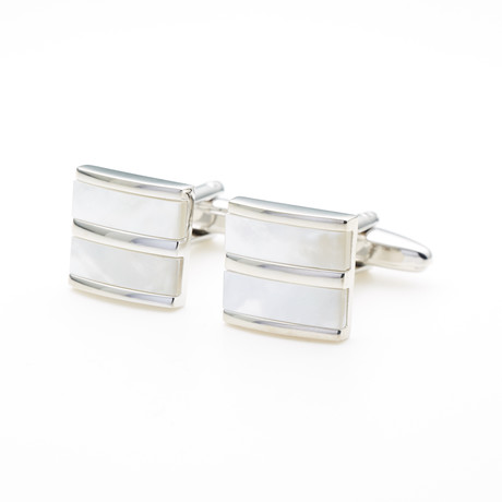 Pearlised Cufflink // White