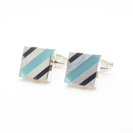 Colored Cufflink // Blue + Teal