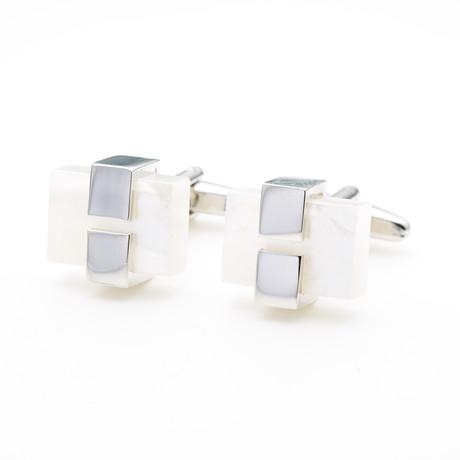 Acrylic Cufflink // White Ice