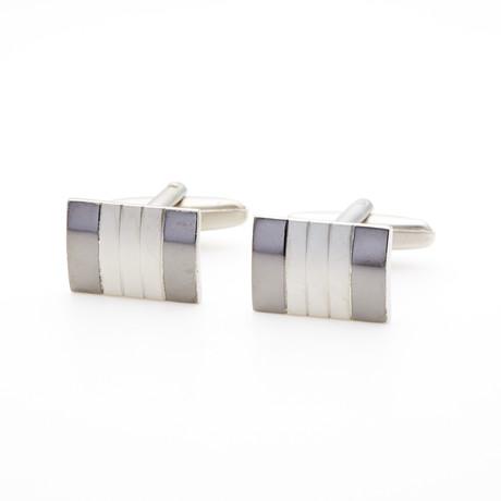 Pearl + Rhodium Cufflink