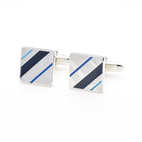 Striped Cufflink // Blue