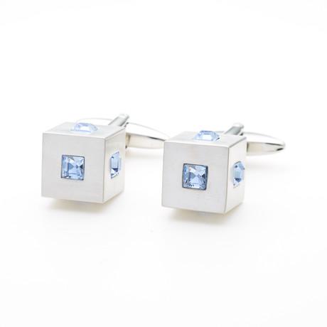 Crystals Cube Cufflink // Blue
