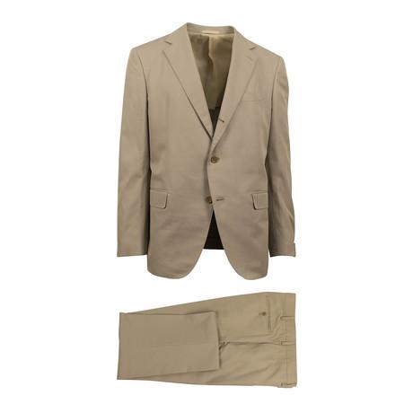 3 Roll 2 Button Trim Fit Cotton Suit // Tan (Euro: 44S)