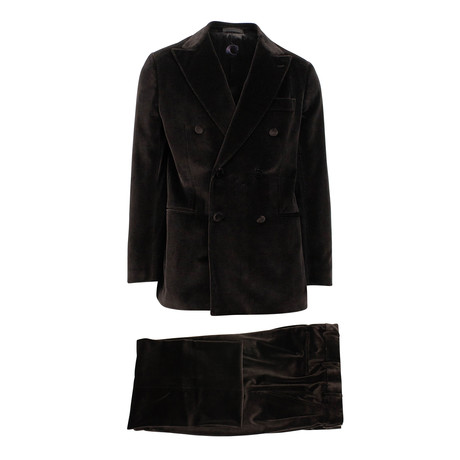 Velvet Double Breasted Slim Fit Suit // Brown (Euro: 44S)