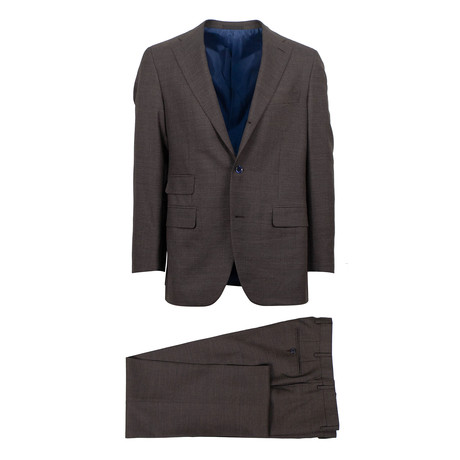 Wool 3 Roll 2 Button Slim Trim Fit Suit // Brown (Euro: 44S)