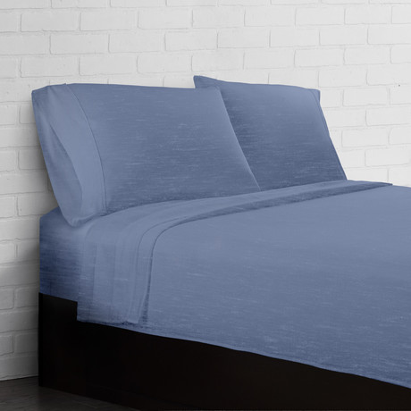Soft Heather Jersey Knit // 4 Piece Sheet Set // Blue (Twin)