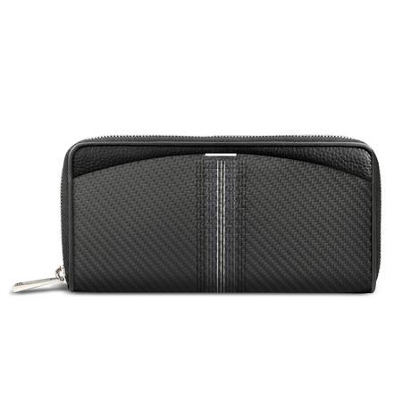 Soft Carbon Fiber Embroidered Wallet // Long