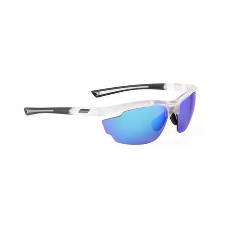 Men's VOLT 08 Sunglasses // Matte Crystal + Neon Blue