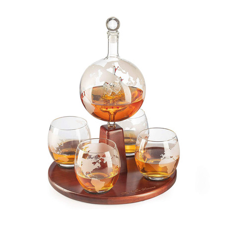 World Decanter Globe Decanter // Antique Ship + 4 World Map Glasses