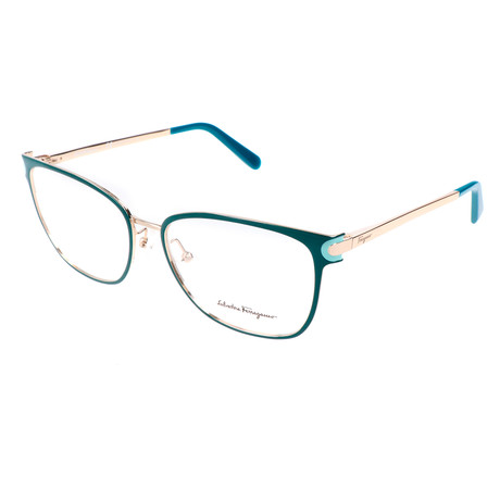 Women's SF2150 Optical Frames // Petrol + Shiny Gold