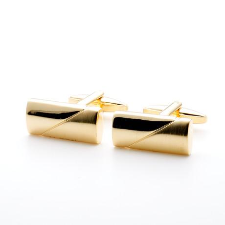 Gilt Plated Rectangular Cufflink // Gold