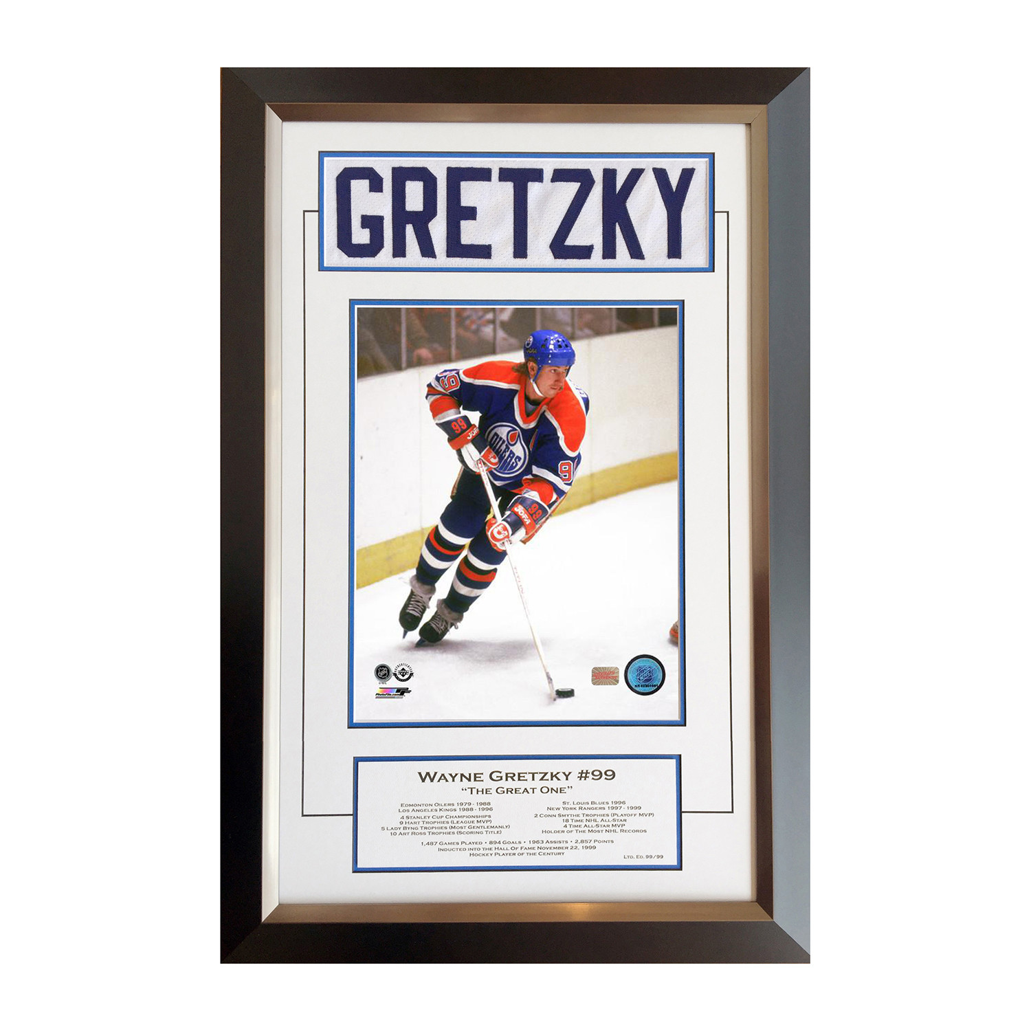 new arrival 1b382 3ccb4 Wayne Gretzky // Jersey Name Bar + Signed Photo // 99 Of 99 ...