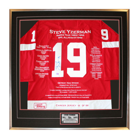 Steve Yzerman // Autographed Career Jersey Display