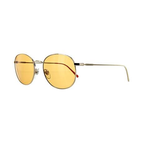 Men's Round Sunglasses // Shiny Gold + Dark Orange